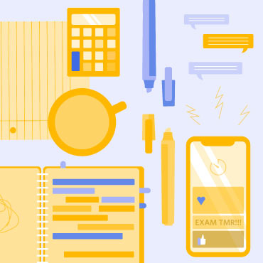 Graphic with books, phone, calculator
